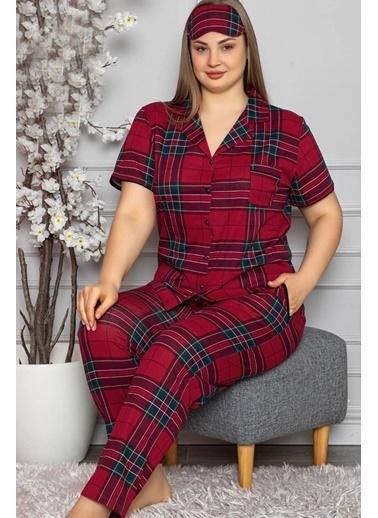 Pemilo Kadın 5710-1 Ekose Desenli Büyük Beden Kısa Kol Pijama Takımı BORDO Bordo